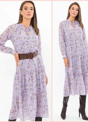 Очаровательное шифоновое платье с цветочным принтом* отличное качество