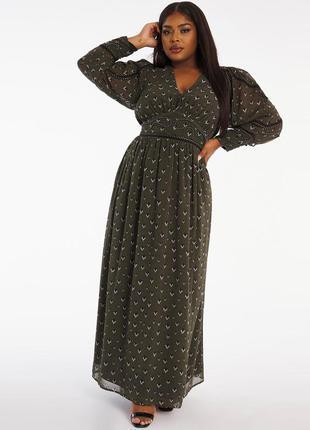 Шифоновое длинное платье рукава цвет хаки в  принт и узоп  от  joanna hope