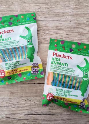 Десткие зубочистки с зубной ниткой в форме зверушек plackers kids (40шт) оригинал сша