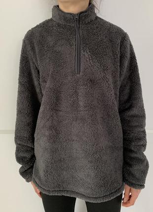 Джемпер жіночий темно-сірий. джемпер из имитации овчины.теплая кофта. h&m