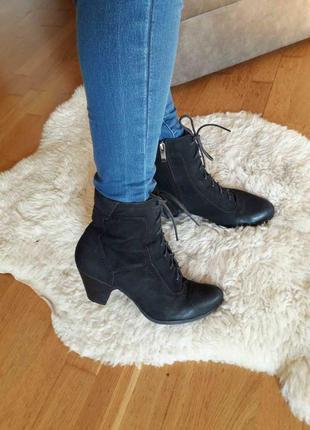 Сапожки ботильоны ботинки черные нубук 5th avenue