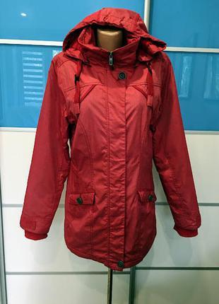 Демисезонная тёплая влагоустойчевая куртка с капюшоном и налокотниками cecil