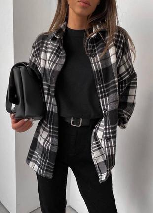 Рубашка женская в клетку рубашка/пальто тёплая