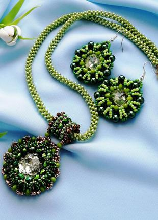 Комплект прикрас з бісеру «зелень» намисто і сережки