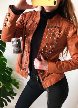 Кожаная дизайнерская приталенная куртка германия