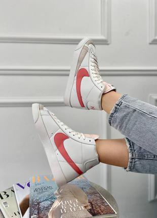 Nike blazer white pink высокие кроссовки найк блейзер белые