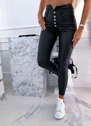Утеплённые кожаные брюки на флисе экокожа брюки