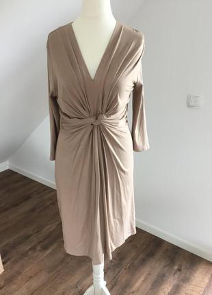 Нюдовое телесное платье с узлом на талии миди