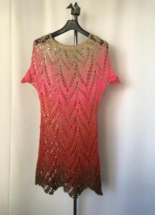 Платье туника ажур крючком розовый градиент секционка