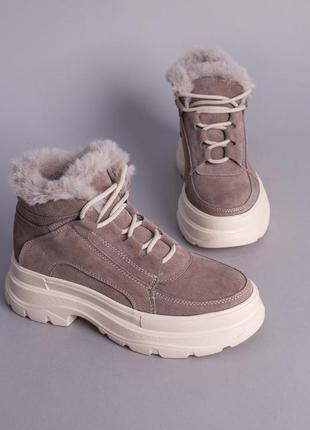 Женские зимние ботинки натуральная замша с мехом