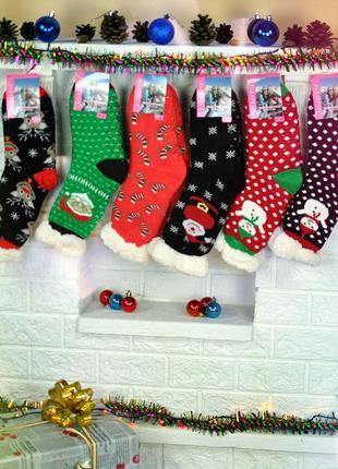 Носки-тапочки с тормозом золото 35-40 с носочками со снеговиком анти скользящие теплые