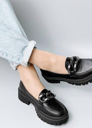 Туфли лоферы натуральная кожа черный