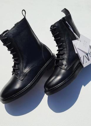 Ботинки детские кожанные черного цвета