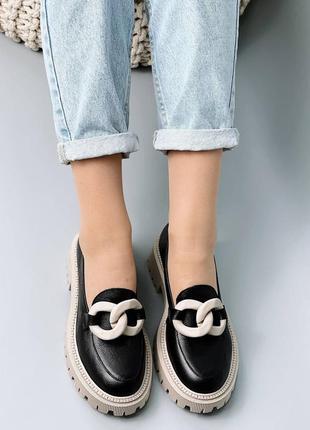 Туфли лоферы натуральная кожа черный бежевый