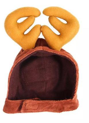 Шапка оленя, шапка лося,  шапка помощника эльфа, новогодняя шапка, рождественская шапка для животных