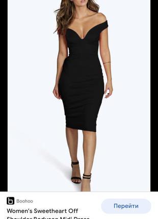 Платье чёрное миди boohoo