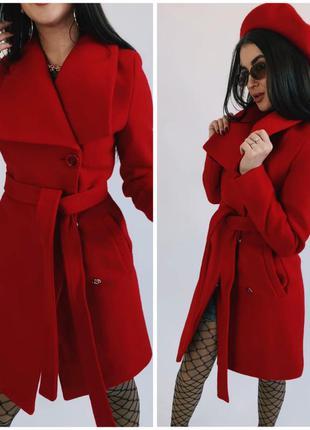 Осеннее женское кашемировое пальто / красное/ с поясом