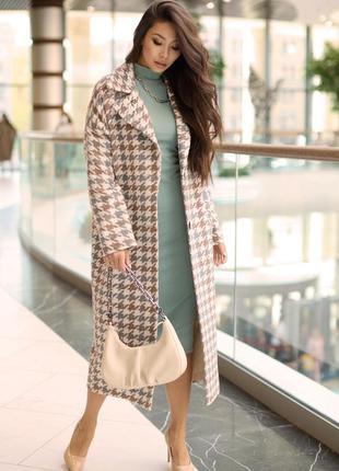 Красивое демисезонное пальто с узором гусинная лапка тренд этого сезона!!