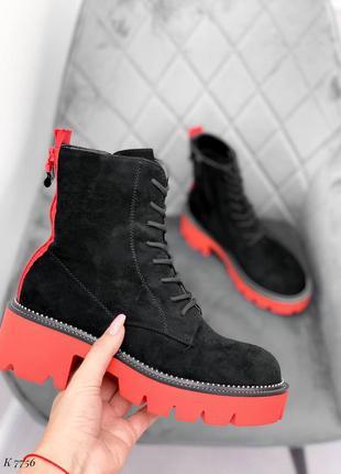 Шикарные ботинки нс байке шнуровка красная подошва