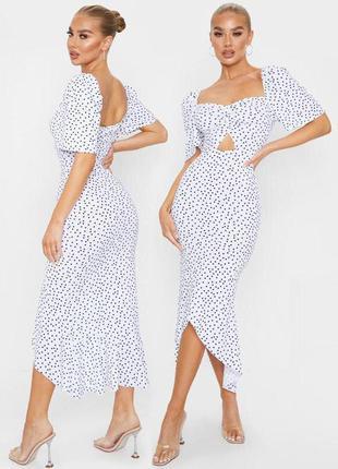 Распродажа платье prettylittlething миди/макси горох горошек с asos