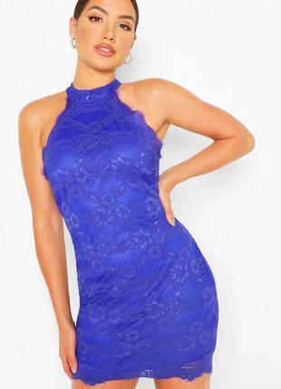 Вечернее гипюровое мини платье ax peris насыщенного синего цвета