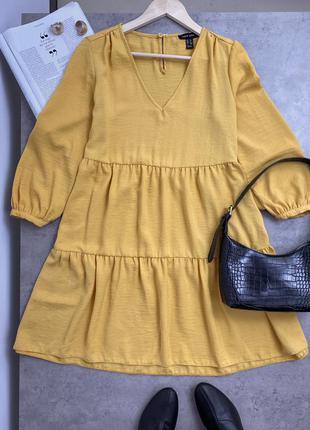 Мустардова , ярусна сукня new look