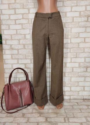 Новые теплые базовые штаны/брюки на 30 % шерсть в мелкий принт, размер хс-с