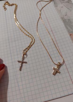 Крестик с цепочкой. позолота
