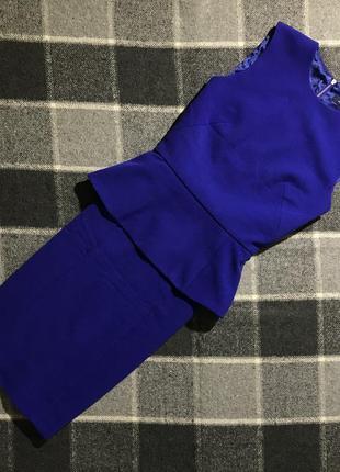 Женское короткое платье с баской french connection ( френч коннекшин срр идеал оригинал синее)
