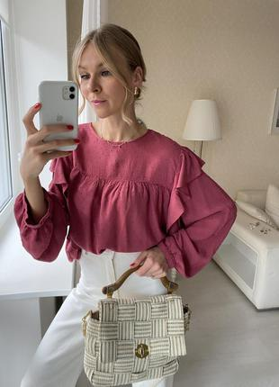 Красная розовая блузка воланы рюши