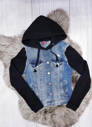 Джинсовый пиджак с капюшоном divided (h&m)