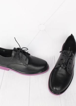 Стильные туфли на шнурках 39 размера на низком ходу