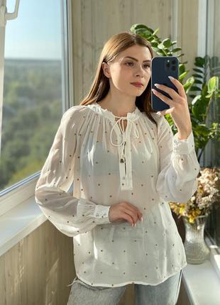 Идеальная молочная блуза в горох 1+1=3
