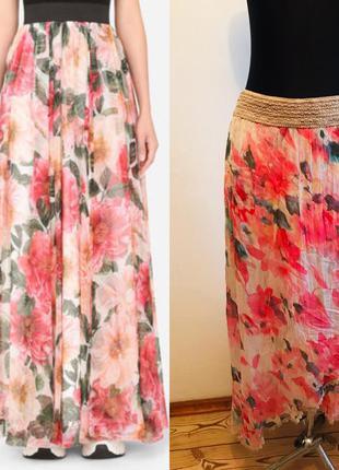 Длинная шёлковая юбка в цветах