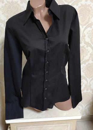 Стильная классическая черная рубашка,100% коттон