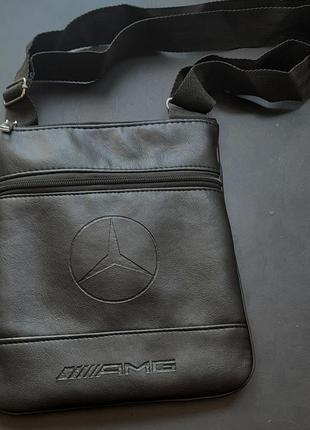 Мужская барсетка mercedes amg, планшетка, сумка через плечо, спортивная, эко кожа, экокожа еко шкіра,  екошкіра, черная, подарок мужчине