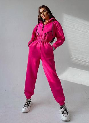 Тёплый женский комбез комбинезон розовый малиновый на молнии на флисе