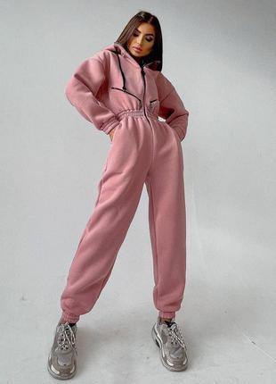 Тёплый комбинезон розовый женский пудра комбез на молнии на флисе
