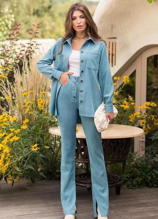 Супер стильный брючный вельветовый костюм цвет бирюзовый качество 🔥