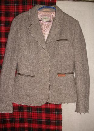 Теплый шерсть вискоза жакет пиджак pepe jeans с необработанными срезами
