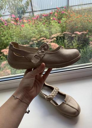 Кожаные туфли / балетки в бежевом цвете от hotter оригинал !