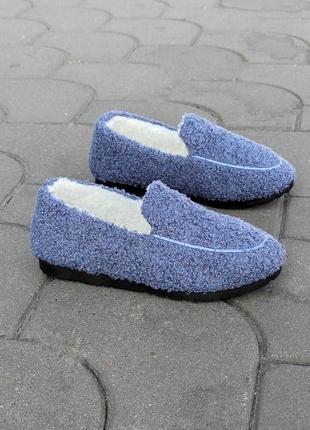Синии голубые джинс слипоны мокасины теплые автоледи на меху тапки тапочки сменка