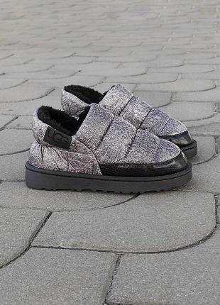 Серые автоледи дутики укороченные угги теплые мокасины слипоны осенние зимние ботинки