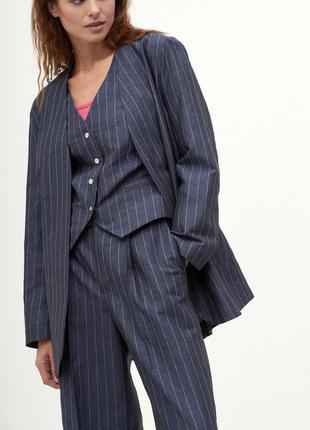 Костюм брючный брюки с защипами высокая посадка пиджак оверсайз жилет двубортный