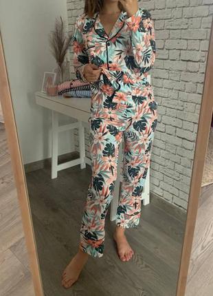 Женская котоновая пижама  кофта + штаны