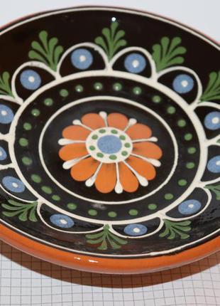 Красивая настенная тарелка узоры роспись глина вес 392 грамма винтаж