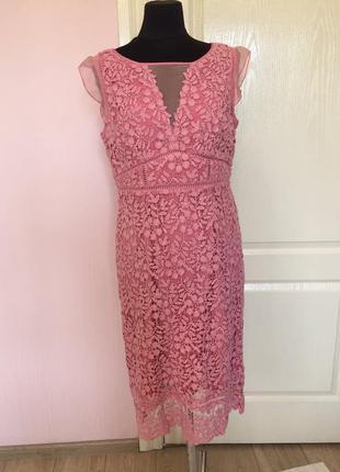 Кружевное платье, кружево, гипюр, нежно розовое