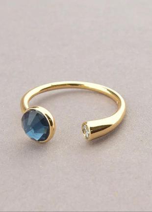 Кольцо позолоченное с камнем сваровски