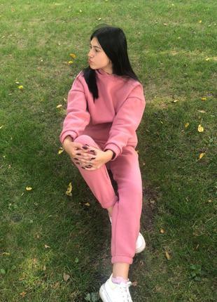 Sale - теплый спортивный костюм оверсайз  на флисе , цвет пудра