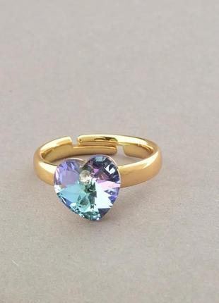 Кольцо позолоченное с камнем сваровски сердце